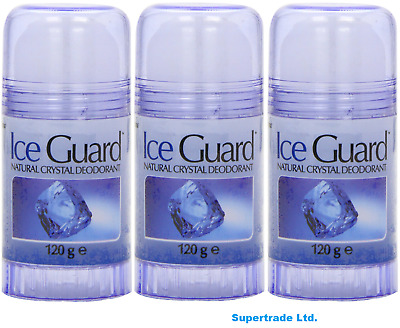 £12.49 • Buy 3 X Ice Guard Twist Up Natural Crystal Deodorant Roll On Non Sticky 120g