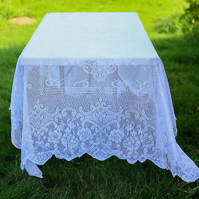 $12.86 • Buy WHITE 60x126 RECTANGLE Floral LACE TABLECLOTH Wedding Party Catering Kitchen
