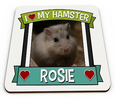 Personalised I Love My Hamster Cute Novelty Gift Glossy Mug Coaster • 3.49£