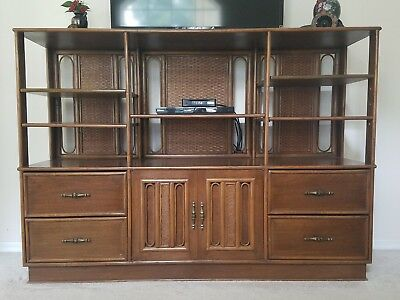$95 • Buy Mahogany Display Cabinet With Rattan Accents.