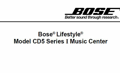 Bose Lifestyle Model Cd5 Series I Music Center Service Manual Book In English • 15.99£