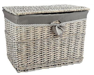 Medium Or Lrg Grey Wicker Storage Basket Storage Chest Trunk Hamper With Linning • 24.99£
