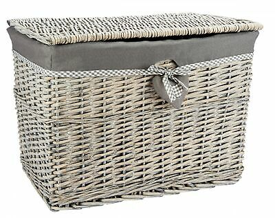 Medium Or Lrg Grey Wicker Storage Basket Storage Chest Trunk Hamper With Linning • 34.99£