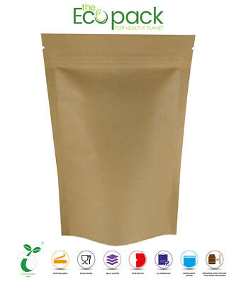 Biodegradable Stand Up Pouches Heat Seal Food Grade With Zip Lock Eco Pack  • 24.99£