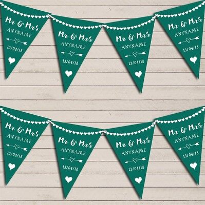 Heart Mr & Mrs Emerald Green Wedding Day Married Bunting Party Banner • 5.99£