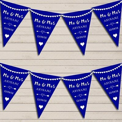 Heart Mr & Mrs Royal Blue Wedding Day Married Bunting Party Banner • 5.99£