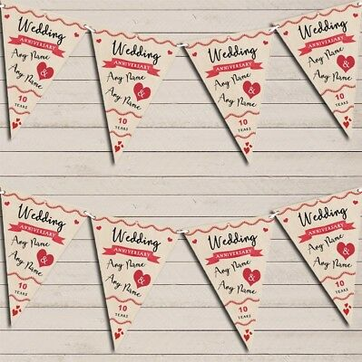 Party Decoration 10th Wedding Anniversary Bunting Garland Party Banner • 5.99£