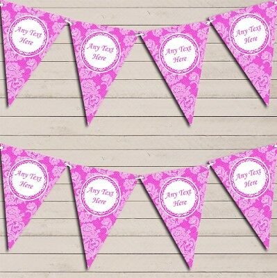 Lace Pattern Bright Hot Pink Wedding Day Married Bunting Garland Party Banner • 7.29£