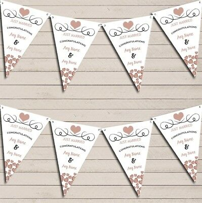 Hearts Decoration Just Married Mocha Taupe Wedding Day Bunting Banner • 7.29£