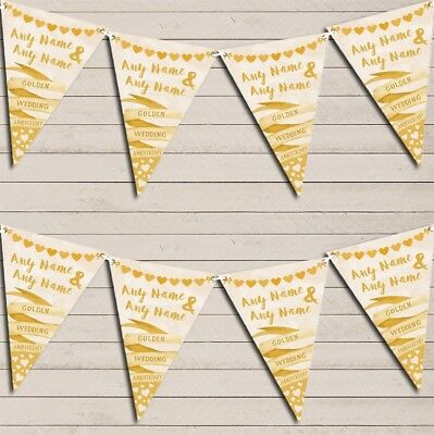 Banner & Hearts Golden 50th Wedding Day Married Bunting Garland Party Banner • 5.99£