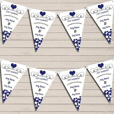 Hearts Party Decoration Just Married Navy Blue Wedding Day Bunting Party Banner • 7.29£