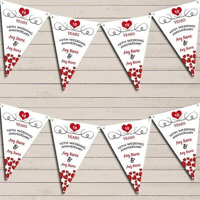 Hearts Party Decoration 10th Any Year Wedding Anniversary Bunting Party Banner • 5.99£