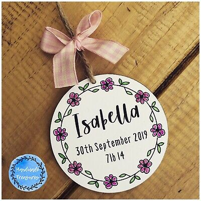 £6.99 • Buy Personalised New Baby Gifts Christening Plaque Name Birth Girl Nursery Bedroom
