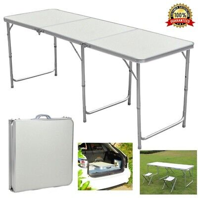 Portable Folding Trestle Table Heavy Duty Plastic Camping Garden Party Car Boot • 29.99£