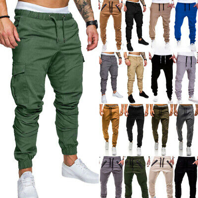 a89db6e01f5d New Mens Skinny Slim Fit Joggers Jogging Bottom Fleece Gym Pants Zip Pockets  • 12.99