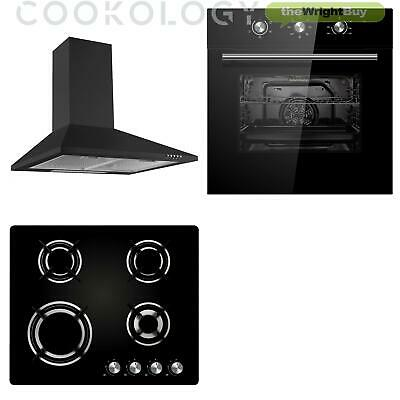 Cookology Black Electric Fan Forced Oven, Gas-on-Glass Hob & Cooker Hood Pack • 349.99£