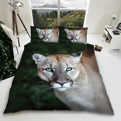 3D Puma Wild Cat Duvet Cover Quilt Cover Bedding Set Single Double King Sizes • 20.60£