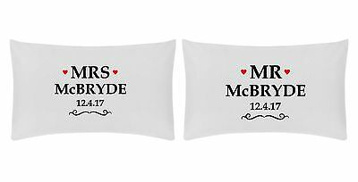 WEDDING DATE Personalised Pillow Case Set With Love Hearts • 11.99£
