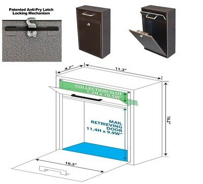 $99.86 • Buy Mailbox Wall Mount With Lock Key Drop Box Parcel Cash Money Safe Mail Security