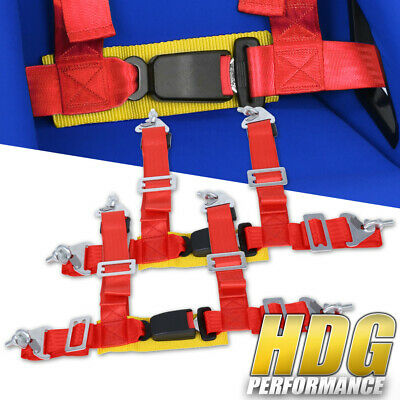 $ CDN46.63 • Buy Pair Of 2  Wide Red / Gold Seat Belt Harness 4 Point Safety W/ Buckle Latch