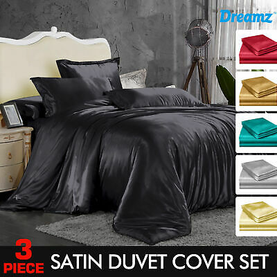 AU39.99 • Buy 1000TC Silk Satin S/Double/Queen/King Size Bed Quilt/Duvet Cover Set Ultra SOFT