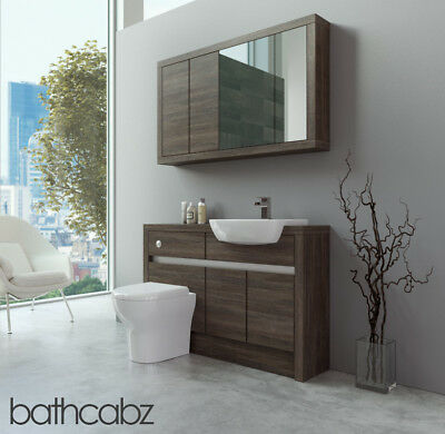 Bathroom Fitted Furniture Mali Wenge 1200mm With Wall Unit - Bathcabz • 1,005£