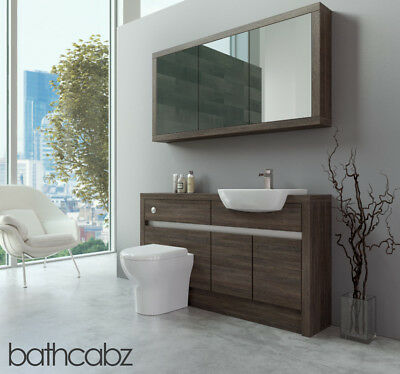 Bathroom Fitted Furniture Mali Wenge 1400mm H1 With Wall Unit - Bathcabz • 1,195£