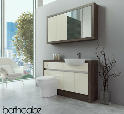 Bathroom Fitted Furniture Cream Gloss/mali Wenge 1300mm With Wall Unit - Bathcab • 1,040£