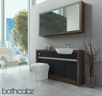 Bathroom Fitted Furniture Anthracite Gloss/mali Wenge 1400mm H1 With Wall Unit - • 1,195£