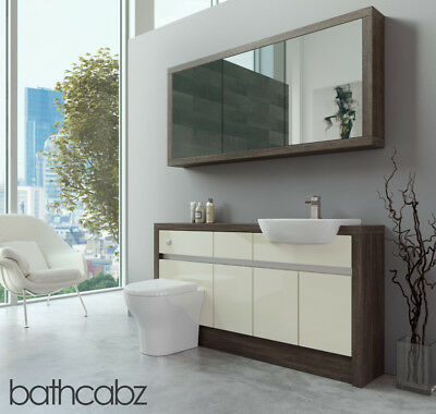Bathroom Fitted Furniture Cream Gloss/mali Wenge 1500mm H1 With Wall Unit - Bath • 1,425£