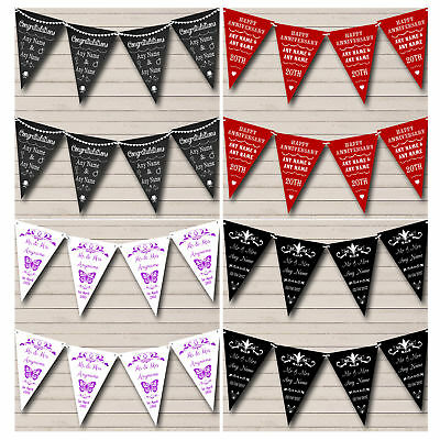 Personalised Wedding Anniversary Bunting Party Flag Banner Decoration Garland • 5.99£