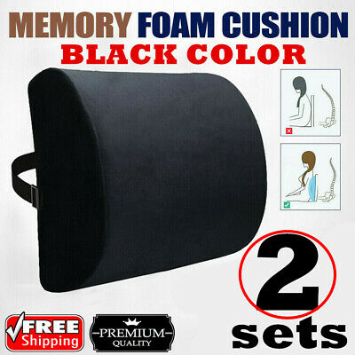 AU34 • Buy 2 Memory Foam Lumbar Back Pillow Support Back Cushion Home Office Car Seat Chair