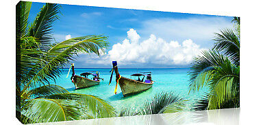 Tropical Palm Trees Beach & Sea Panoramic Canvas Wall Art Picture Print  • 92.99£