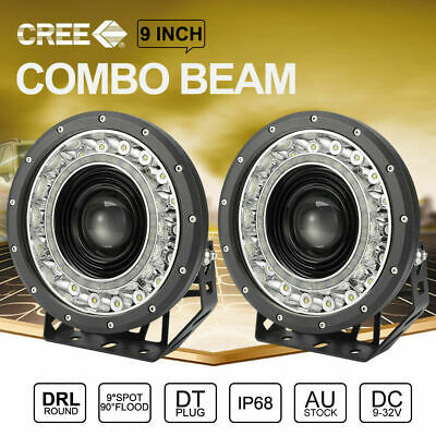 AU299.99 • Buy Pair 9 Inch CREE SPOT LED Driving Lights 4x4 Round BLACK Spotlights With DRL