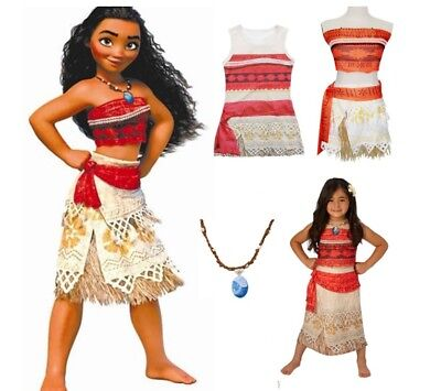 AU21.95 • Buy NEW Girls Moana Movie Princess Cosplay Dress Costume Skirt With Free Necklace