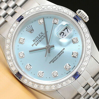 $ CDN7448.08 • Buy Authentic Mens Rolex Datejust Ice Blue Diamond 18k White Gold & Steel Watch