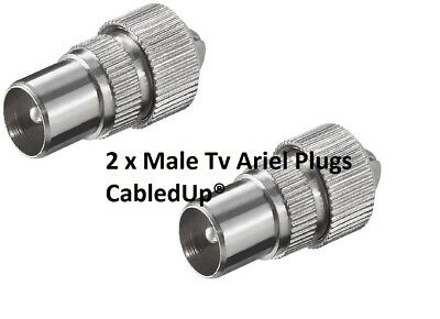 £2.28 • Buy 2  Male Tv Coax Ariel Connector Plugs Tv Aerial For Cable Lead