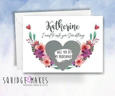 £3.70 • Buy Personalised Scratch Be My Bridesmaid Card Maid Of Honour Bridesmaid Proposal