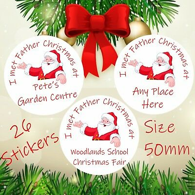 26 Personalised I Met Father Christmas Children's Stickers For Santa's Grotto  • 3.69£