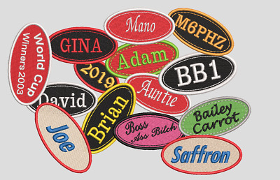 Personalised, Embroidered Name Tag, Patch. Sew/Iron On Your Name, Your Colours. • 3.99£