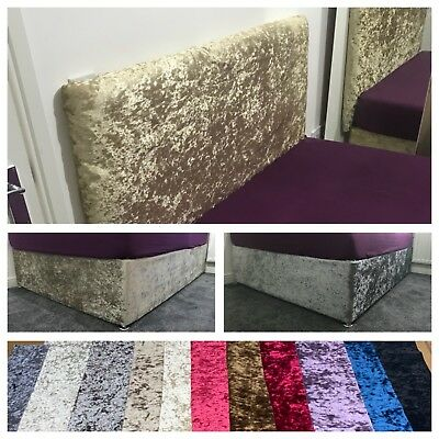 Luxury Crushed Velvet Elasticated Divan Bed Base Cover Wrap OR Headboard Cover • 0.99£