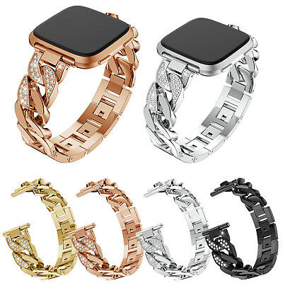 $ CDN18.50 • Buy Glitter Rhinestones Metal Chain Band For Fitbit Versa Bracelet Strap Bangle Belt