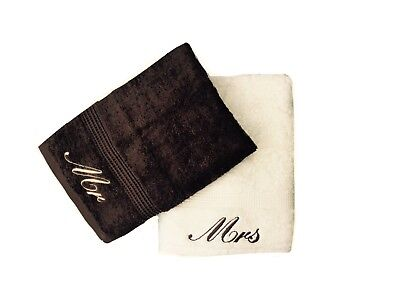 £15.99 • Buy Embroidered Mr & Mrs Cream And Chocolate Brown Hand Towels Pair