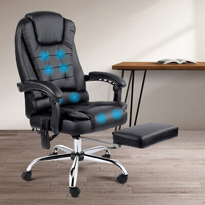 AU204.90 • Buy Artiss 8 Point Massage Office Chair Heated Reclining Gaming Office Chairs Black