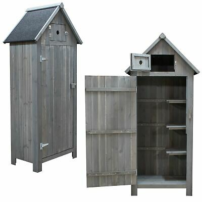Wooden Apex Roof Garden Storage Shed Cupboard Outdoor Tool Cabinet Shelves    • 129.95£