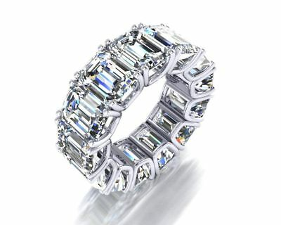 $150 • Buy 9mm Emerald Eternity Special Cocktail Party Band Ring Solid 925 Sterling Silver