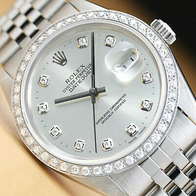 $ CDN6646.04 • Buy Mens Rolex Datejust Silver Diamond Dial 18k White Gold Stainless Steel Watch