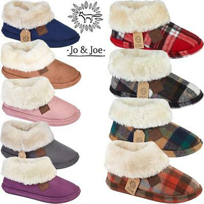 Ladies Slippers Womens Fairisle Ankle Tartan Winter Warm Fur Boots Booties Size • 14.95£