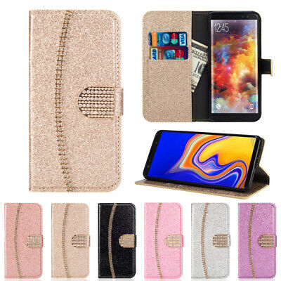 AU6.46 • Buy Glitter Leather Wallet Case Diamond Women's Flip Cover Stand For Samsung Galaxy