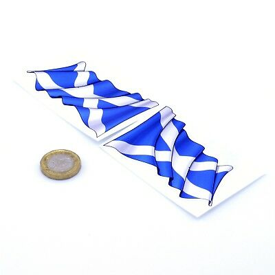Scotland Waving Flag Stickers X2 80mm Car Motorcycle Helmet Vinyl Decals Saltire • 1.79£
